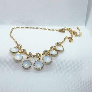 White Rivoli Cabochon Necklace Goldtone